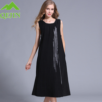 Women Fall Wool Dresses Permanent Pleat Embroidery O Neck Long Dress High Quatity Plus Size Two