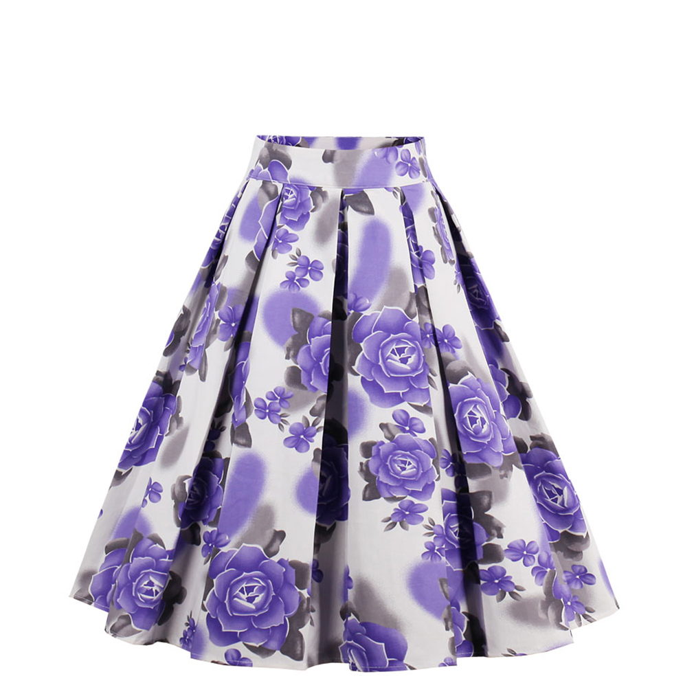 New 4 color Bohemian Summer Vintage Skirt Wop loose Woman Girls Print Retro Ball Gown Skirt Femininos Casual Sexy Swing Vestidos