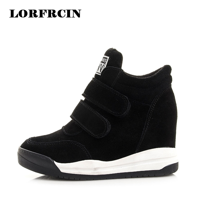 Shoes Women Suede Genuine Leather Wedges Shoes Round Toe High Quality Platform Shoes Comfortable Hidden Heels Boots Woman genuine cow leather spring shoes wedges soft outsole womens casual platform shoes high heel round toe handmade shoes for women