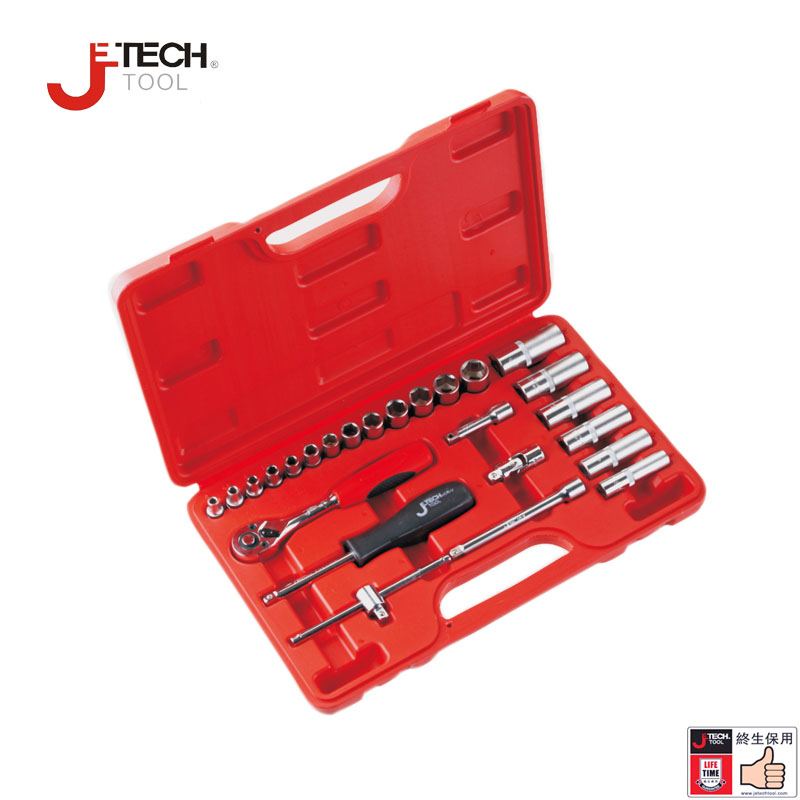 Jetech 25pcs 1/4 DR metric impact assorted socket car ratchet wrench set kits tool case caixa ferramentas basic car tools jetech 15pcs 1 2 dr metric socket wrench set with ratchet extention bar 5 inch kit ferramenta car tool sets lifetime guarantee