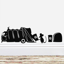 Cute Creative Mouse Rubbish Truck Vinyl Wall Stickers Kitchen Room Home Decoration Diy Black Living Mural Art Decals
