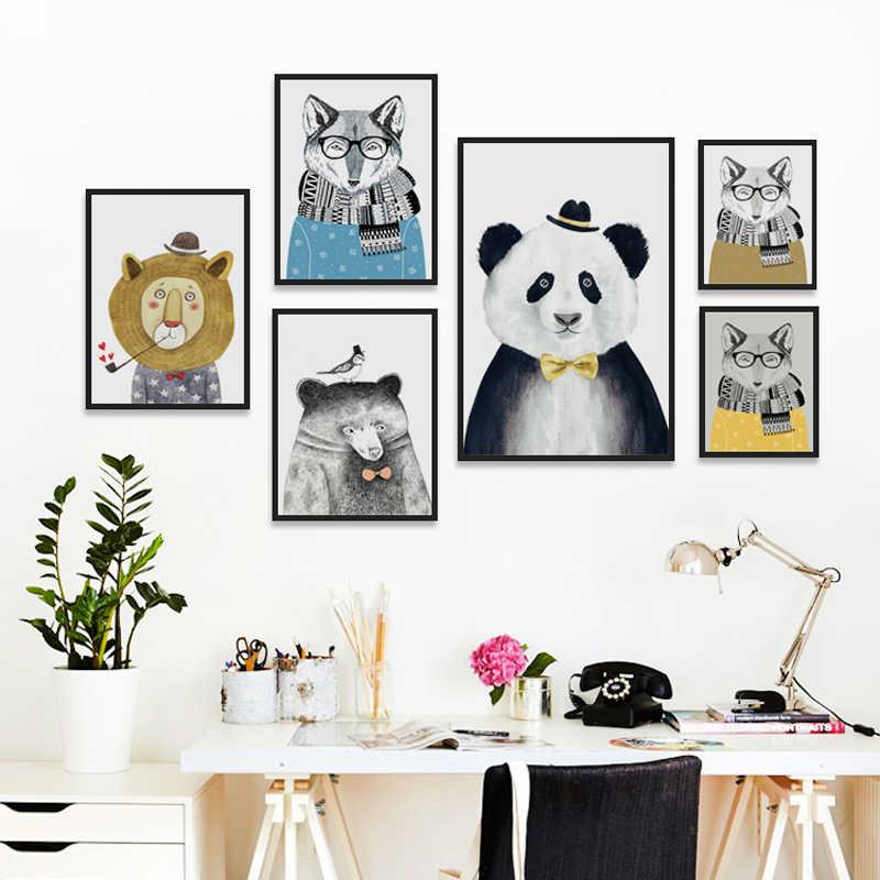 Elegante Poesie Nordic Cute Animal Bär Panda A4 Leinwand Malerei Kunstdruck Poster Bild Moderne Wohnkultur Kind Schlafzimmer Dekor