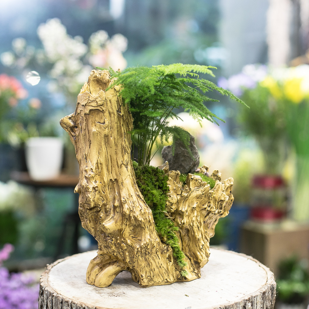 madera flotante artificial maceta resina maceta grande escultura suculentas plantas de aire de mltiples capas irregular