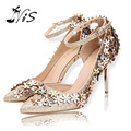 2016 Ladies Ankle Strap Wedding Evening Dress Shoes Woman New Hot Pointed Toe Women Pumps Flowers Design 10CM High Heels