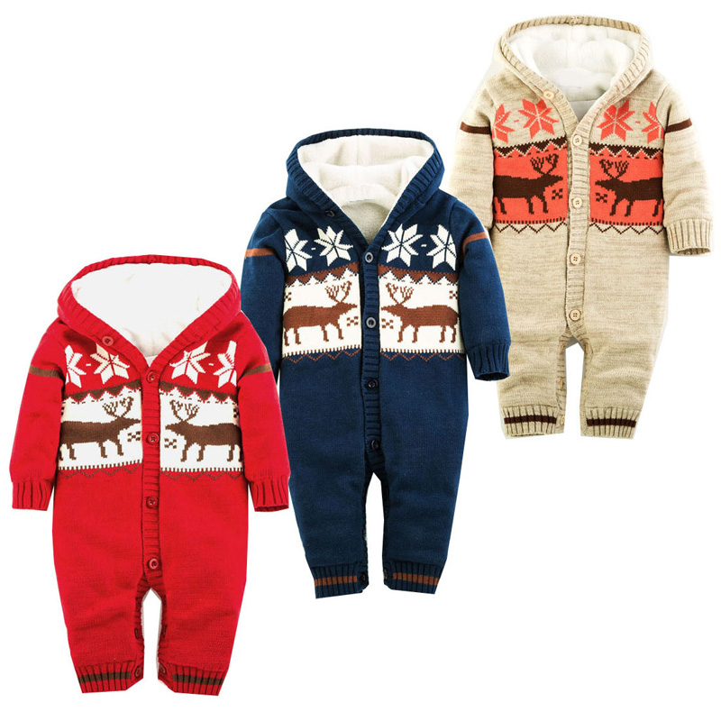 NEW Baby Rompers Winter Thick Climbing Clothes Newborn Boys Girls Warm Romper Knitted Sweater Christmas Deer Hooded Outwear iyeal winter baby rompers thick baby clothes newborn boys girls warm romper knitted sweater christmas deer hooded outwear