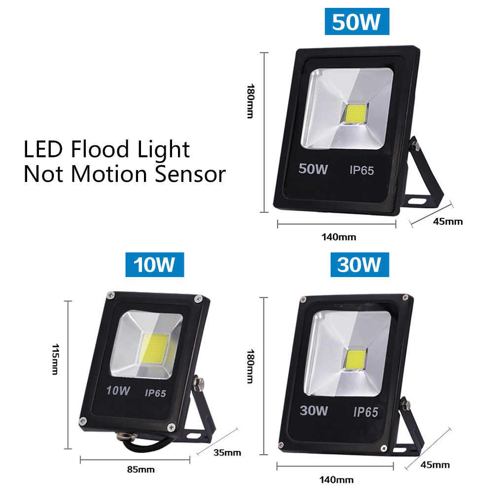 Движения Сенсор Светодиодный прожектор мощностью 50 Вт 30 Вт 10 Вт AC 220 V Водонепроницаемый IP65 отражатель прожектора лампы foco светодиодный внешний пятно света наружного освещения