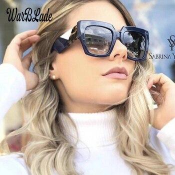 f1c8d5f4f 2018 Novas Mulheres Da Moda Óculos De Sol Quadrado Espelho Lense Óculos de  Sol Feminino Verão Estilo Vintage Tricolor Eyewear UV400