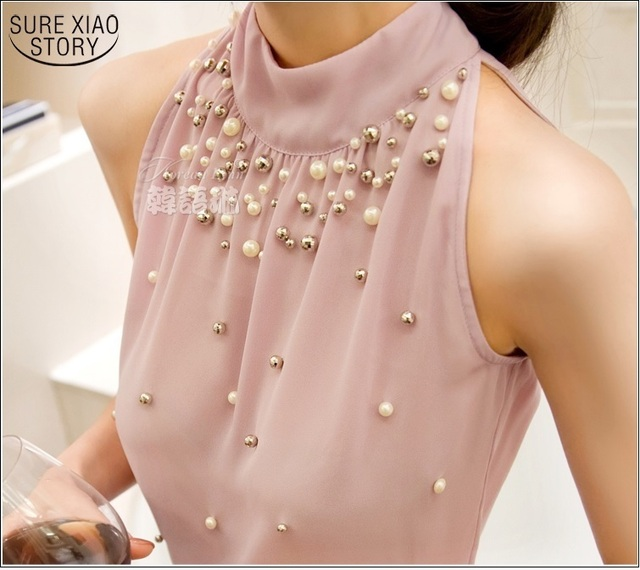 2019 New Women Beading Chiffon Blouse Korean Fashion Sleeveless Women Turtleneck Chiffon Blouse Shirt Women Top S M L XL835I 42
