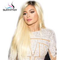 Sunnymay Hair T1b/613 Glueless Full Lace Human Hair Wigs With Baby Hair 130% Pre Plucked Blonde Ombre Wigs With Dark Roots