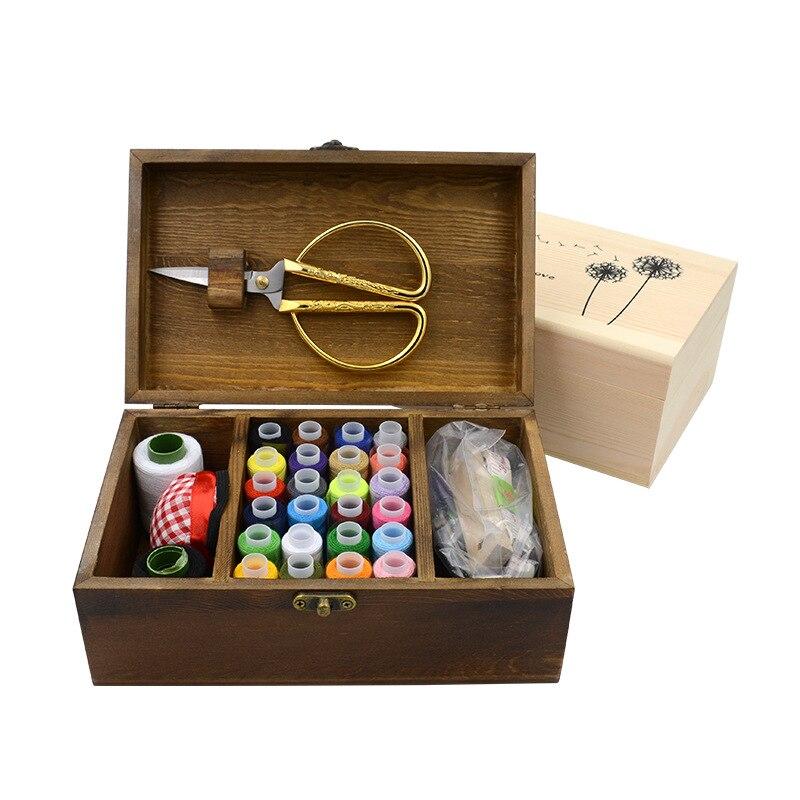 Threader Needle TapeThimble Storage Box Sewing Kit Tool Kit Wood Sewing Set Wooden Sewing Box Set