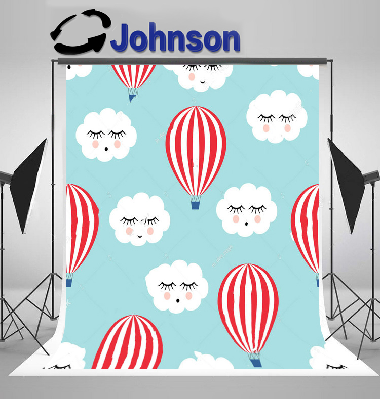 wall background Vinyl cloth High quality Computer print Happy Cloud Hot Air Balloons Cute Baby Shower backdrop