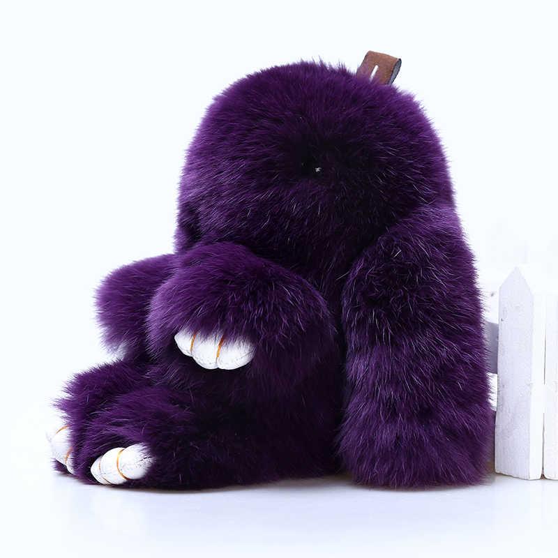 18 cm Rex Coelho Fofo Chaveiro Pingente Charme Chaveiros Chaveiro de Coelho Mulheres Reais Rabbit Fur Pom Brinquedo Boneca Pendurada de Jóias