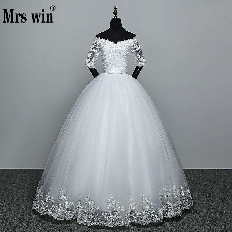 Wedding Dress 2019 New Arrival Flowers Butterfly Gelinlik Embroidery Lace Boat Neck Princess Wedding Gowns Vestidos De Novia(China)