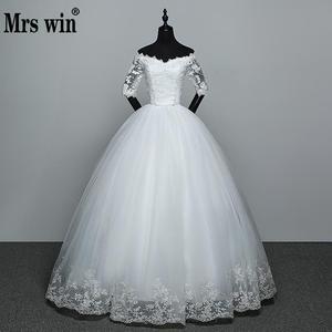 Image 1 - Hochzeit Kleid 2020 Neue Ankunft Blumen Schmetterling Gelinlik Stickerei Spitze Boot ausschnitt Prinzessin Hochzeit Kleider Vestidos De Novia
