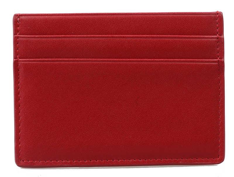 Модный Красный гладкой телячьей кожи 4-слот Держатель для карт карты случай  бумажник с натуральной 8ce7d1d4f4d