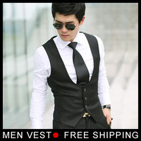 New Top Design Men Casual Suit Tuxedo Dress Vest Waistcoat Black Size M L XL XXL