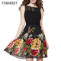 2017 Summer Floral Print Lace Patchwork Mini Dress Elegant Robe Wear Office Women Black Vestidos Sleeveless