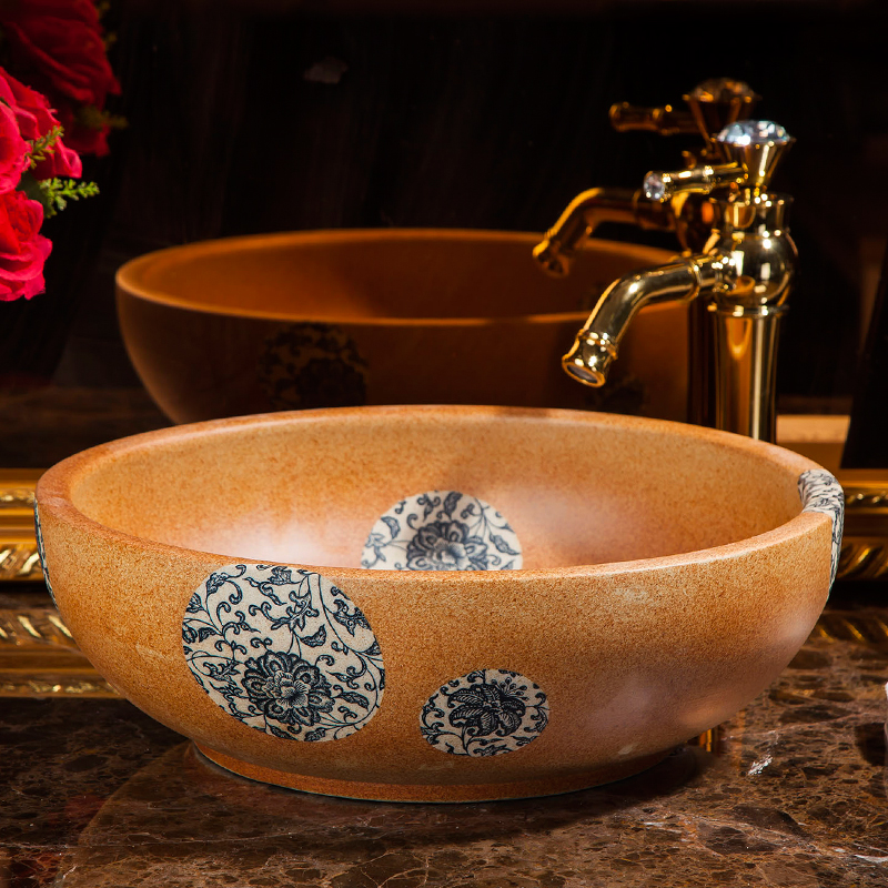 Europe Vintage Style Ceramic Washing Basin Counter Top Bathroom Sink Hand Wash  Sink Bathroom Sinks(