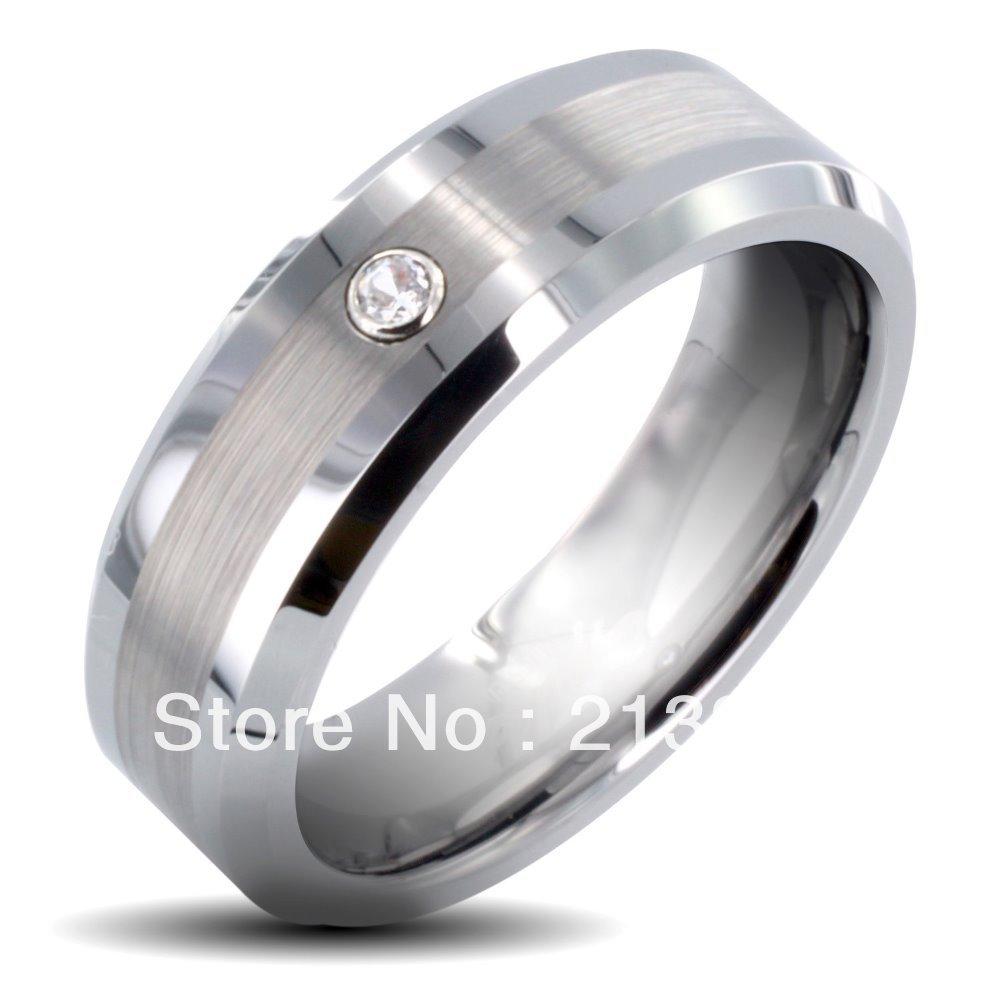 Livraison gratuite acheter pas cher prix Discount USA vente chaude 8 MM hommes et femmes brossé Center avec Zircon biseauté tungstène anneaux de mariage