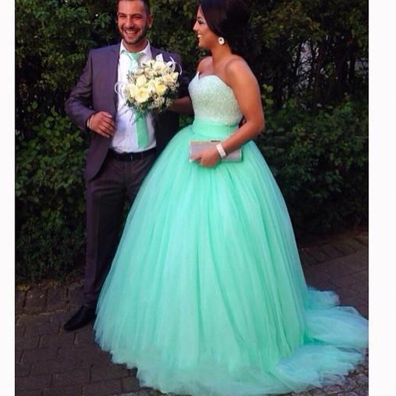 Fancy Mint Colored Wedding Dress With Shiny Beading