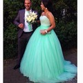 Fancy Mint Colored Wedding Dress with Shiny Beading Sweetheart Neckline Ball Gown Long Court Train Dubai Bridal Wedding Dress