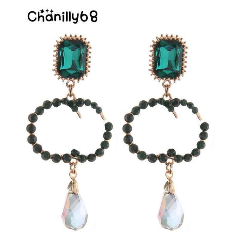 Chanilly68 Drop Pearl Earrings Zine Alloy Brand Rhinestone Big Earring Large Long Brinco Ear Accessories Oorbellen alloy pentagram chains drop earrings