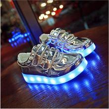Хлопчики дівчата USB зарядний пристрій світлодіодні взуття мулі-клобуки Chaussure Enfant світлий кросівер повсякденний 2017 дитячі ліхтарі