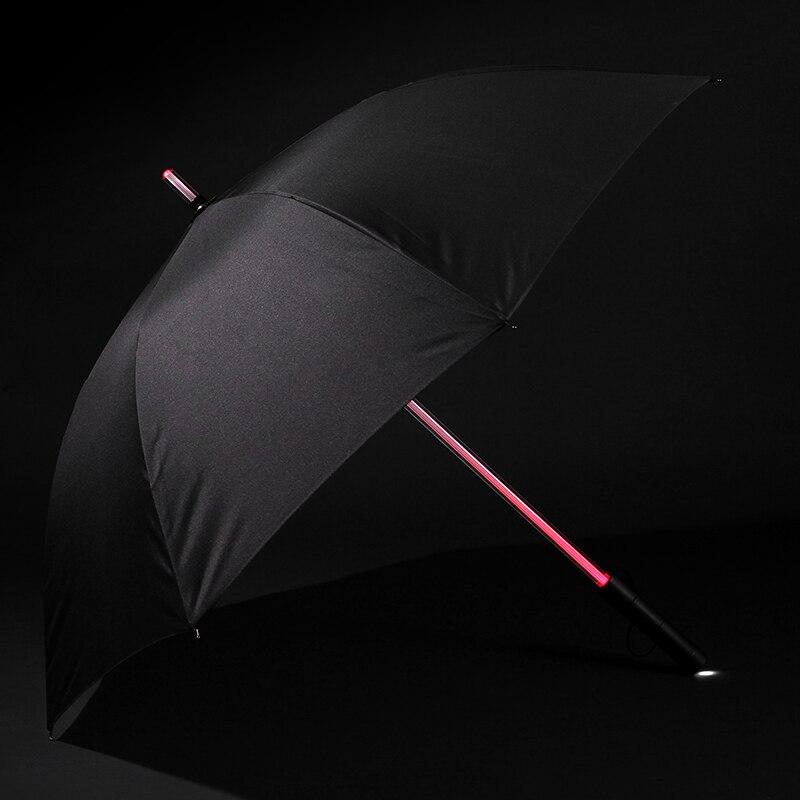 Parapluie lumineux Led acrylique bâton moyen couleur changeante parapluie lampe de poche vision nocturne parapluie Laser sept couleurs créatif