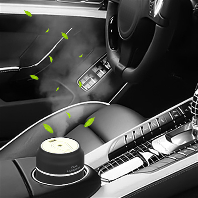 3 in 1 200ml Cans Humidifier Mini Ultrasonic Car Humidifiers Led Night Light USB Fan Essential Oil Aroma Diffuser Air freshener image