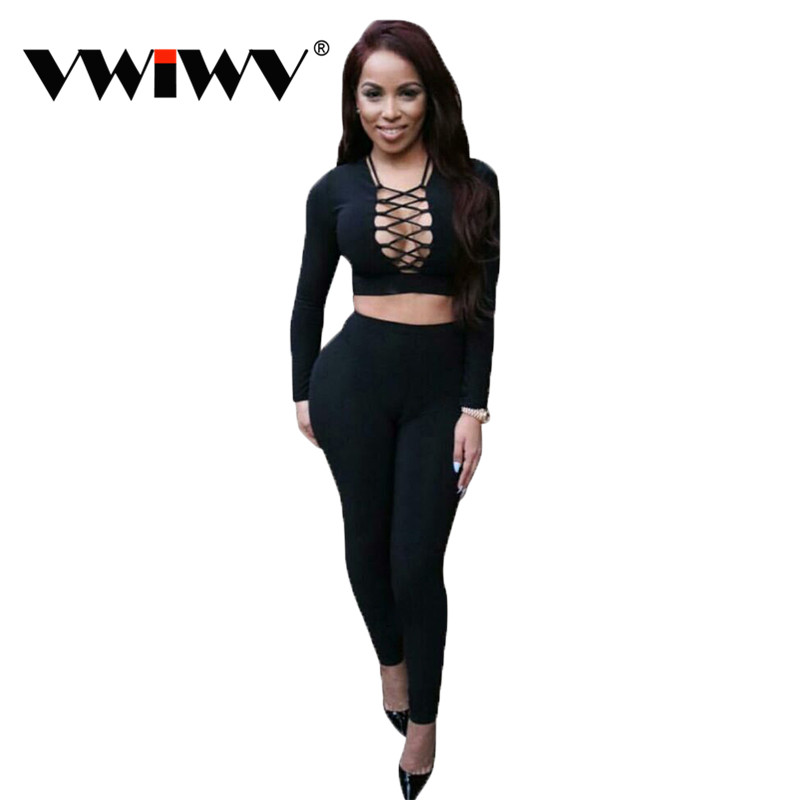 Winter Sexy Women Deep V Neck Lace Up Bodycon Two Pieces Jumpsuit Elastic Long Sleeve Jumpsuit Black Long Club Wear Bodysuit