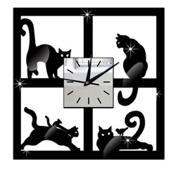 3D Cat Mirror Black Wall Clock Modern Design Home Decor  Creative Watch Wall oclock w0703