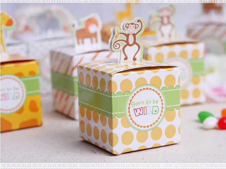 1 pcs-12 pcs ספארי מסיבת אריזת מתנה יום הולדת מסיבת קישוט תינוק מקלחת מתנת יום הולדת שקיות יום הולדת ילד ילדה סוכריות תיבת אריזת מתנה