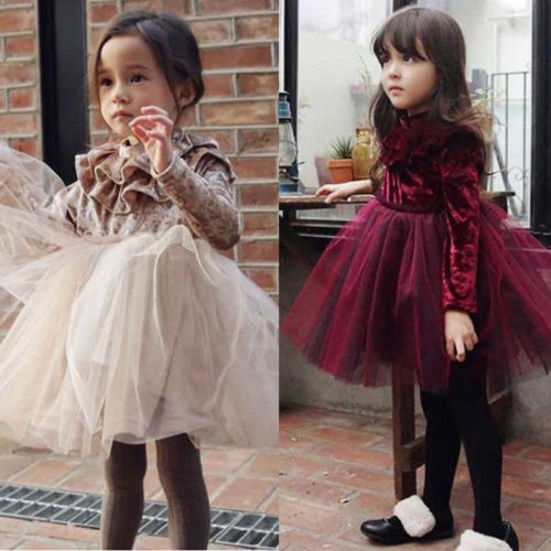Kids Baby Girls Dress Velvet Fleece Long Sleeve Party Dress Tulle Tutu Dress цены онлайн