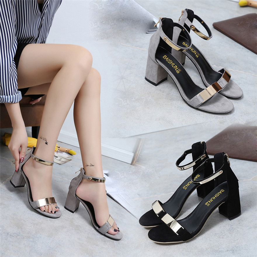 Sagace Women Girls 2018 Luxury Summer Sandals Open Toe Women Sandles Thick Heel Shoes Gladiator Shoes MAY 16