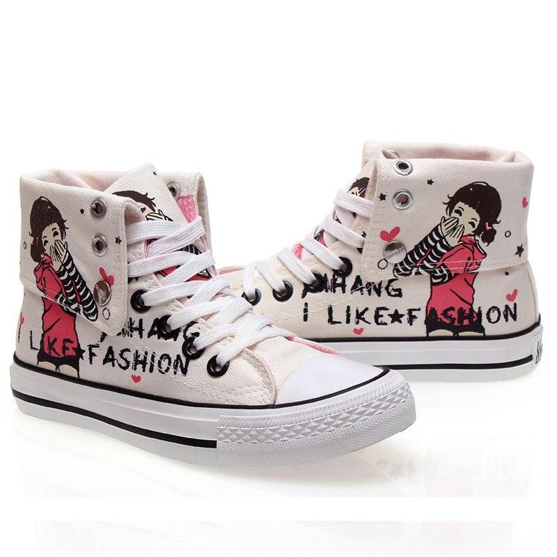 Cordones Zapatos Graffiti blanco Altas 2017 Con Negro Moda Casuales Para Botas Chicas Tobillo De Mujer Nuevas Nva Altos Lona 24 vxPqZgv