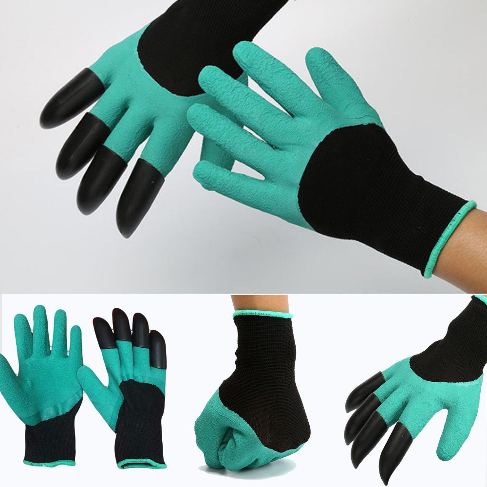 2018 hot sale 1 pair new durable Gardening Gloves for garden Digging Planting with 4 ABS Plastic Claws