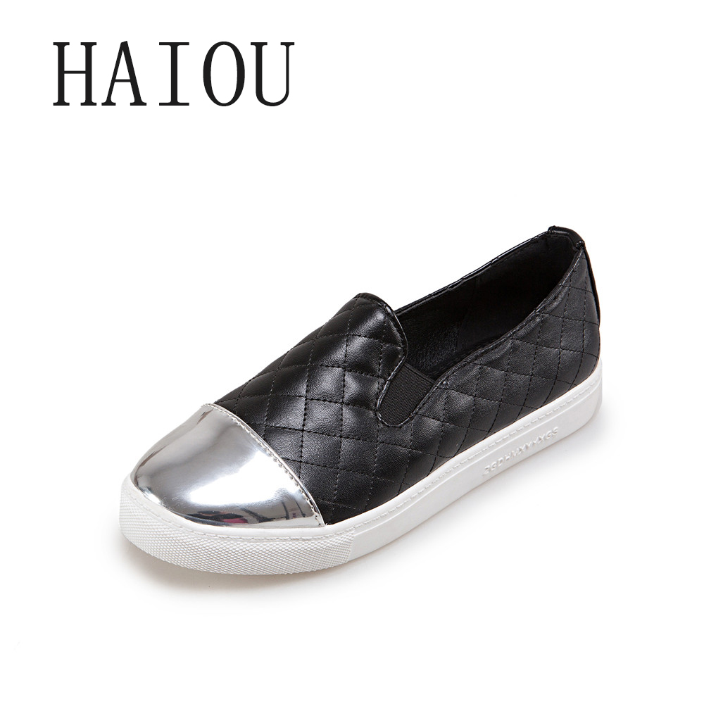 New 2017 Spring Leather Black Plaid Shoes Women Loafers ...