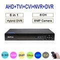 8mp/5mp/4mp/3mp/2mp/1mp CCTV Камера Hi3531D 8CH 8-канальный сетевой видеорегистратор 8MP 4K H.265 гибрид коаксиальный 6 в 1 TVI CVI NVR AHD DVR Бесплатная доставка
