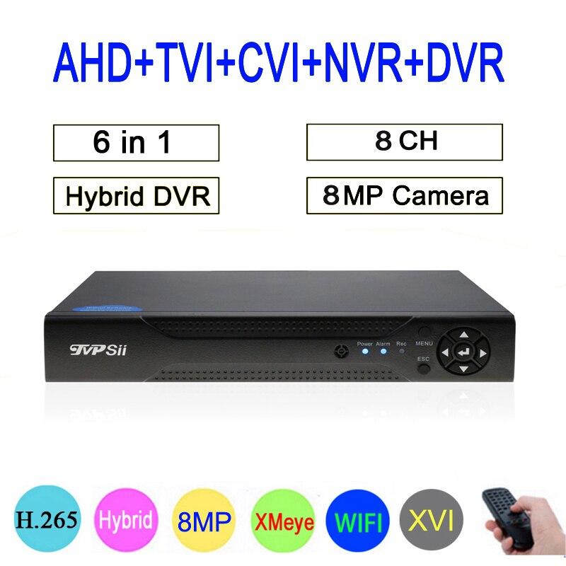 8mp/5mp/4mp/3mp/2mp/1mp CCTV Câmera Hi3531D 8CH 8 Canal 8MP 4K h.265 6 em 1 CVI TVI AHD DVR NVR Híbrido Coaxial Frete grátis
