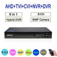 8mp/5mp/4mp/3mp/2mp/1mp CCTV Kamera Hi3531D 8CH 8 Kanal 8MP 4K h.265 Hybrid Koaxial 6 in 1 TVI CVI NVR AHD DVR Freies verschiffen