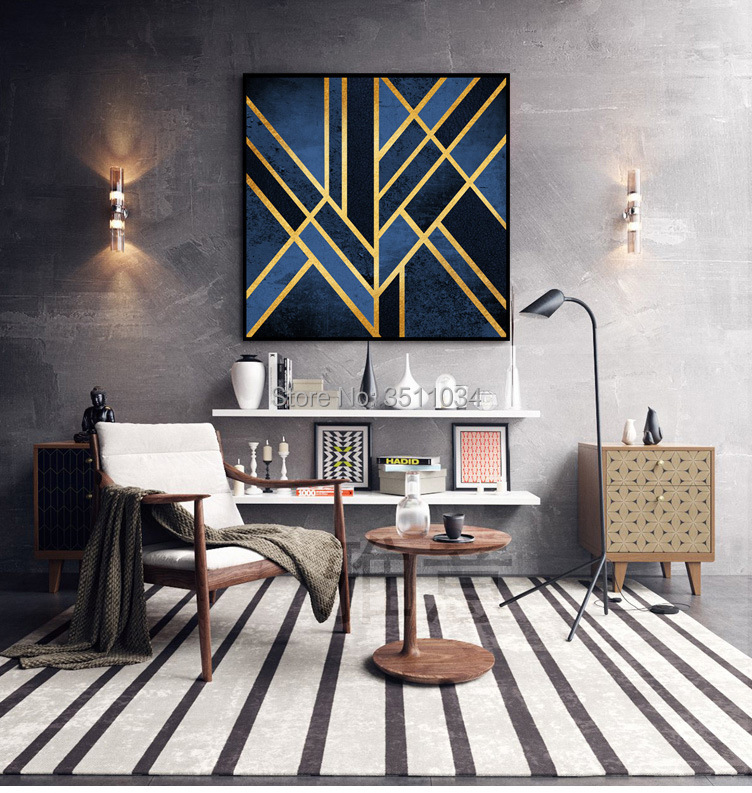 . US  62 0  2018 new coming Nordic modern simplified Abstract living room  ornament geometric golden matrix hotel with frame decoration in Painting