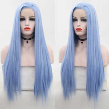 RONGDUOYI Light Blue Synthetic Lace Front Wig Side Part Long Silk Straight Lace Front Wigs For Women High Temperature Wig - DISCOUNT ITEM  40% OFF All Category