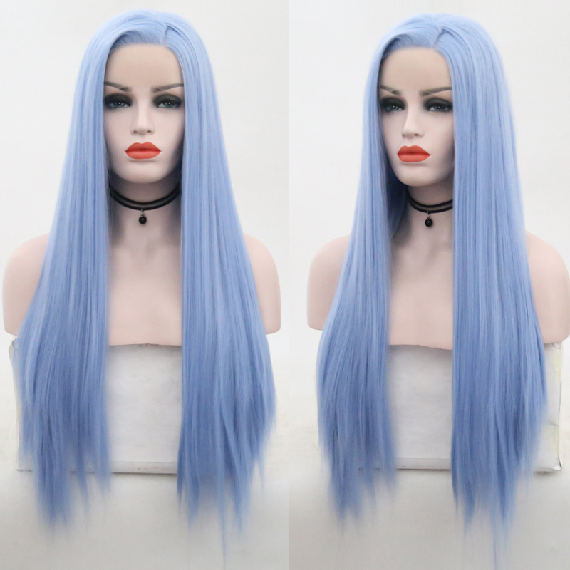 RONGDUOYI Light Blue Wigs Synthetic Lace Front Wig Side Part Long Silk Straight Lace Front Wigs For Women High Temperature Wig