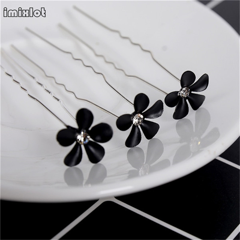 Hair-Ornaments Head-Flower Korean-Style Black 20pcs/Barrel Red Plug-In U-Shaped