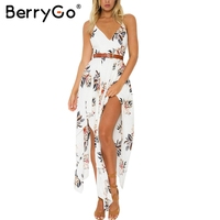 BerryGo Boho Flower Print Irregular Summer Dress Sexy Deep V Neck Backless Split Long Dress Elegant