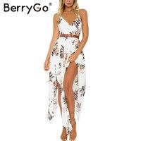 BerryGo Boho Flower Print Irregular Summer Dress Sexy Deep V Neck Backless Split Long Dress Elegant