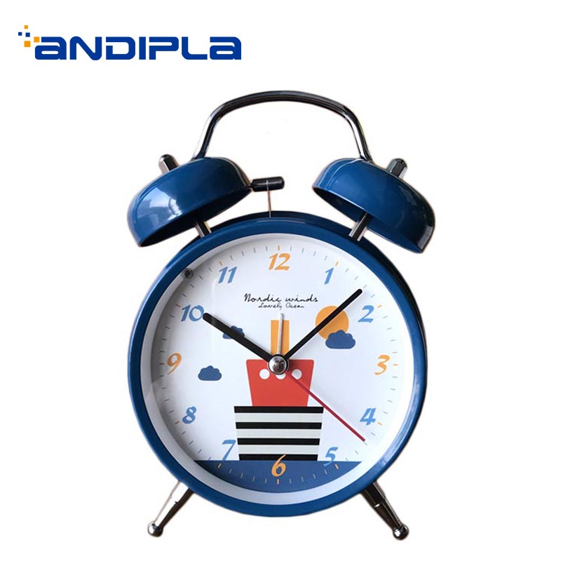 Cartoon Style Child Alarm Clock Metal Quiet Movement Needle Digital 12 Hours Table Clocks Time Watch Bedside Night Light Decor