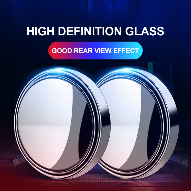 Car Rear View Blind Spot Glass Convex Wide Angle Lens Parking Mirror Reverse Assist Spot Mirror HD 360 Degree Auto Accessories