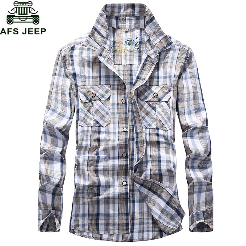 AFS JEEP Plaid Shirt Men Army Military Long Sleeve Camisa Masculina Plus Size 4XL 100% Cotton Casual Mens Shirts Chemise Homme
