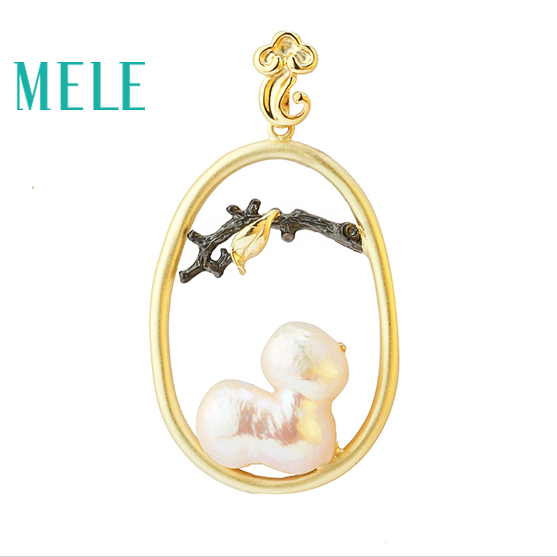 MELE Natural Pearl real 925 silver pendant, semi-precious stone, fashion ladies pendant, trendy and popular mele natural shell necklace pendant for women fashion meteor collar trendy and popular manual work handmade